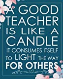 a good teacher is like a candle it consumes itself to light the way for others teacher gift appreciation dot grid journal for 132 pages of 8x10 inspirational notebook series volume 6