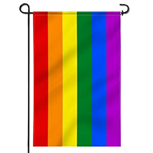 Anley [Double Sided Premium Garden Flag, Rainbow Gay Pride Decorative Garden Flags - Weather Resistant & Double Stitched - 18 x 12.5 Inch
