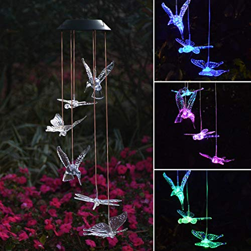 Chasgo Solar Wind Chimes Hummingbird Butterfly Dragonfly Solar Mobile with Changing Colors LED Lights for Ooutdoor Garden Backyard Patio Decor ()