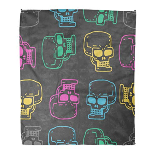 (Emvency Throw Blanket Warm Cozy Print Flannel Abstract Skull Cartoon Skeleton Head Drawing Medicine Retro Vintage Black Comfortable Soft for Bed Sofa and Couch 60x80)