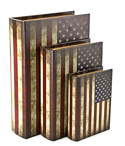 Bellaa 27970 Book Box Flux Leather Set of three 13,10,7 inch USA Flag