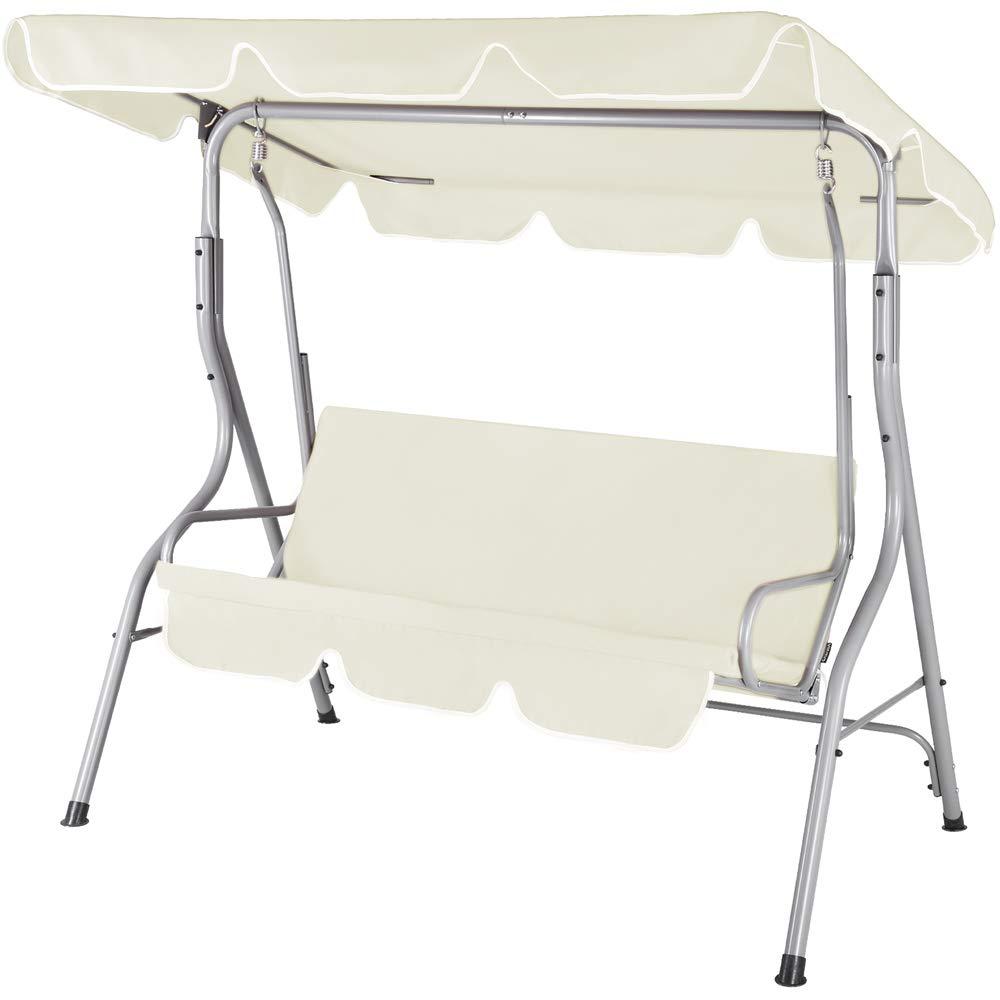 Cream Casaria 3-seater Swing Seat 250 kg Load Capacity Sun Canopy Garden Swing Bench