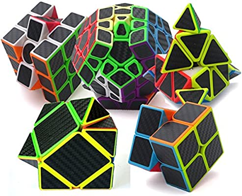 EasyGame Speed Cube Puzzle Pack | 2X2 3X3 Skewb Cube Pyraminx Cube, Megaminx Cube Firbe Carbon Stickerless Cube Set | 5 Pieces Magic Cubes Collection | Puzzle Toys Brain Teaser Gifts By: