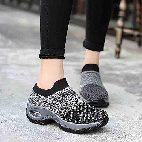 À Chaussures Shoe Épaisse Coussins Bascule Femme D'air Baskets Mode Mailles Gris Plateforme Avec Pour Inférieure Women qpg0BWH0