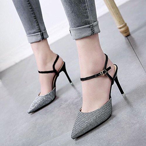 de 35 Heeled con High moda punta plata Las fina ranurados mujeres sexy Sandals Hasp wxISf1Ozq