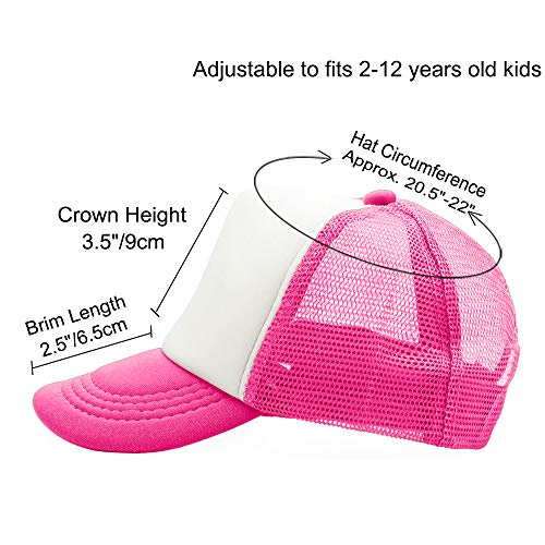 Opromo Kids Two Tone Mesh Curved Bill Trucker Cap, Adjustable Snapback, 14 Colors-Hot Pink/White-1 Pieces by Opromo (Image #1)