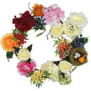 Forevercute 16-20inch DIY Silk Adjustable Wreath with Twig Bird Nest,Little Daisy,Berry Clusters,Peony Fall Wreath 3
