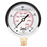 "Winters PFQ Series Stainless Steel 304 Dual Scale Liquid Filled Pressure Gauge with Brass Internals, 0-400 psi/kpa,2-1/2"" Dial Display, -1.5% Accuracy, 1/4"" NPT Bottom Mount"