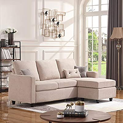 HONBAY Convertible Sectional Sofa Couch, L-Shaped Couch with Modern Linen Fabric for Small Space Dark Beige - Firm and comfortable-The cushions you sit on are nice and firm. You'll never have to worry about sinking in.The more you sit in it the better. Space Saving-Small space reversible sectional sofa. Perfect for my small apartment, upstairs loft and more. Easy assembly-No tools needed and easy-to-follow instructions to assemble. - sofas-couches, living-room-furniture, living-room - 519k2bMgC9L. SS400  -