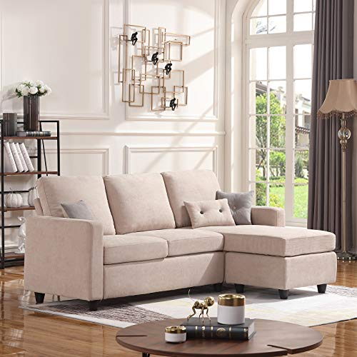 HONBAY Convertible Sectional Sofa Couch, L-Shaped Couch with Modern Linen Fabric for Small Space Dark Beige (Sale Sofa Small Bed)