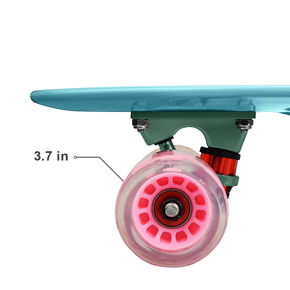 Complete 22 24 Cruiser Skateboard for Beginners – Kids Skateboard Plastic Banana Board with Colorful LED Wheels for School and Travel