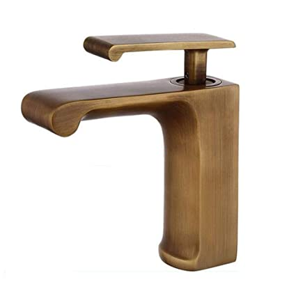 Jruia Antique Brass Waterfall Basin Sink Mixer Tap Traditional