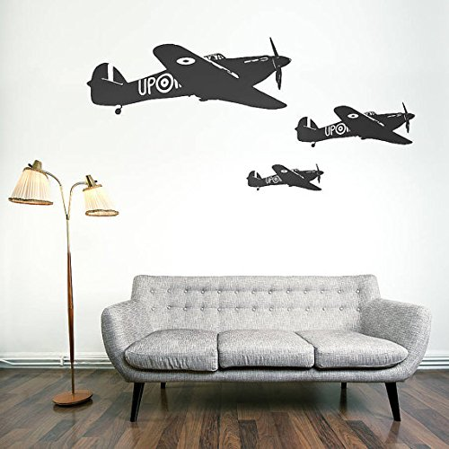 Wall Decal Vinyl Sticker Decals Art Decor Design War Plane Military Air Aviation Airplane Sky Attack Boys Bedroom Living Room Nursery(r271) (Fdc Airplanes)