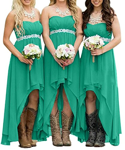Dresses Long Turquoise Honey Green Bridesmaid Chiffon Hilo Sash Formal Crystals Gowns Qiao TqIXF