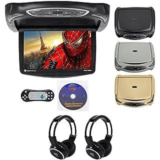 Sale Off Rockville RVD14BGB Black/Grey/Tan 14' Flip Down Car DVD Monitor+Games+Headphones
