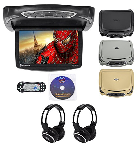 Rockville RVD14BGB Black/Grey/Tan 14' Flip Down Car DVD Monitor+Games+Headphones