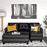 Best Choice Products 3-Seat L-Shape Tufted Faux Leather Sectional Sofa Couch Set w/Chaise Lounge, Ottoman Coffee Table Bench - Black