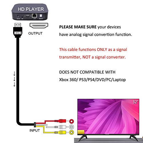 - Fivetech 5FT 1080P HDMI Male to 3 RCA Video Audio AV Cable Adapter For TV HDTV DVD New