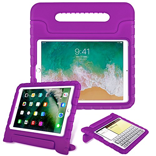 Fintie-Case-for-Apple-iPad-97-Inch-2018-Model-6th-Gen-iPad-97-Inch-2017-Model-5th-Gen-iPad-Air---Kiddie-Series-Light-Weight-Shock-Proof-Convertible-Handle-Stand-Cover-Kids-Friendly---Purple