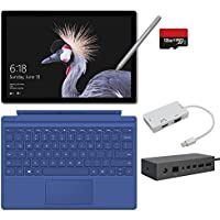 2017 New Surface Pro Bundle ( 6 Items ): Core m3 4GB RAM 128GB Tablet, Surface Dock, New Surface Pen Platinum, Surface Pro 4 Cover Blue,128GB Micro SD Card,Mini DisplayPort Adapter