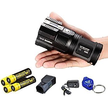 2015 Ver. Nitecore Tiny Monster TM26 4000 Lumen, with 4x Nitecore 18650 Batteries and LumenTac(TM) Keychain Light