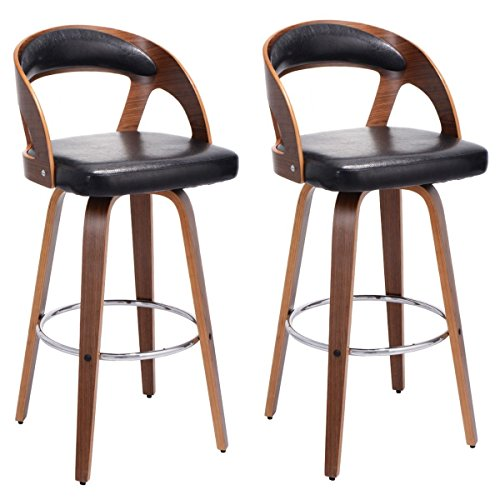 Costway Set of 2 Bentwood Bar Stools PU Leather Modern Barstool Bistro Pub Chair Set (Bistro Bar Set)
