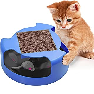 Cat Toys Interactive Kitten Toy - Best for Kitty Cats Supplies - Pet Mouse Play w/ Scratching Post Furniture Scratcher Cardboard Exercise Accessories Moving Fun Stimulation Scratch Swagly Teaser Stuff