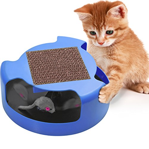 - Cat Toys Interactive Kitten Toy - Best for Kitty Cats Supplies - Pet Mouse Play w/ Scratching Post Furniture Scratcher Cardboard Exercise Accessories Moving Fun Stimulation Scratch Swagly Teaser Stuff