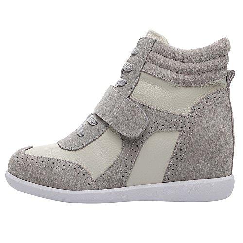Alto Cima Donna Confortevole Sneaker Grigio Elegante Brogue a Tacco Hook Scarpe amp;Loop Zeppa rismart cqnZd08wa8