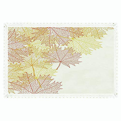 iPrint Leaves,Rectangle Polyester Linen Tablecloth/Pattern with Maple Tree Fall Leaves Skeleton Dried Golden Forms Halloween Decoration Decorative/for Dinner Kitchen Home Décor,60