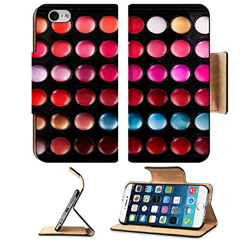 Luxlady Premium Apple iPhone 6 iPhone 6S Flip Pu Leather Wallet Case IMAGE ID: 25289495 Close up shot of lip gloss palette soft focus