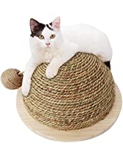 Awhao Semi-Circular Cat Scratch Ball Cat Toy Wooden Bottom Plate Straw Climbing Frame with Sisal Hanging Ball