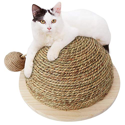 Yunt Semi-Circular Cat Scratch Ball Cat Toy Wooden Bottom Plate Straw Climbing Frame with Sisal Hanging Ball