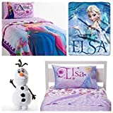 Disney Frozen Celebrate Love Complete 6 Piece Twin Bed in a Bag - Reversible Comforter, 3 Piece Sheet Set, Elsa Throw & Olaf Cuddle Pillow