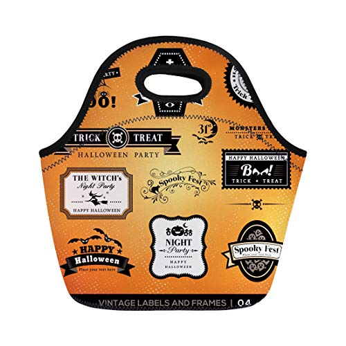 Semtomn Lunch Bags Treat Collection of Halloween Labels and Frames Retro Vintage Neoprene Lunch Bag Lunchbox Tote Bag Portable Picnic Bag Cooler Bag ()