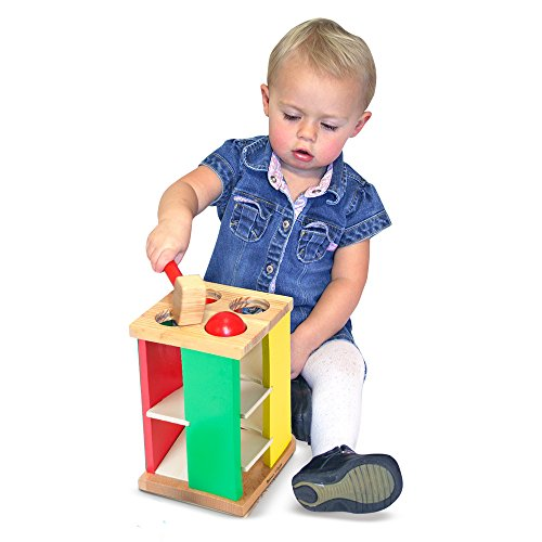 519k4ATLahL - Melissa & Doug Deluxe Pound and Roll Wooden Tower Toy With Hammer