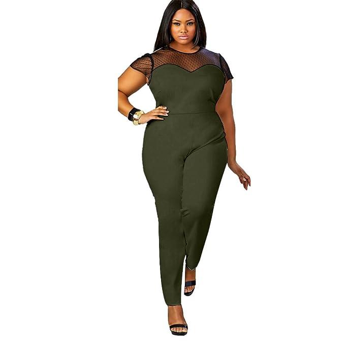 Qiyushow - Mono de encaje para mujer, color negro, tallas grandes negro Ejercito Verde