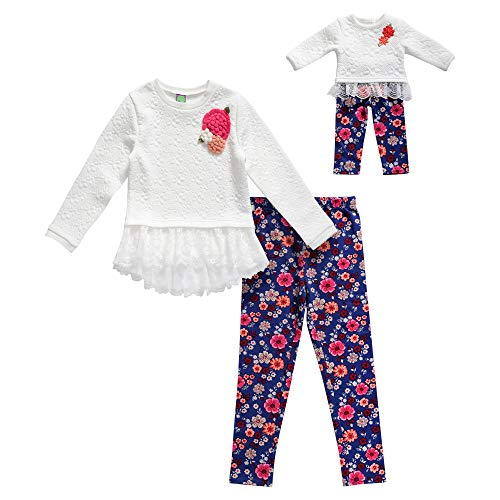 Dollie & Me Girls' Little Sweater Lace Tunic with Legging and Matching Doll Outfit, Ivory/Multi, 4 -