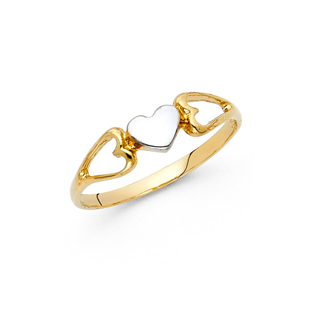 Small Heart Ring 14k Yellow & White Gold Love Band Polished Finish Genuine Two Tone Solid 5MM, Size 6.5
