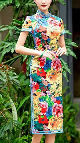 Silk Comfy Premium Picture Cheongsam Dress As Flower Women's Layer Printed Double Retro UppWq67