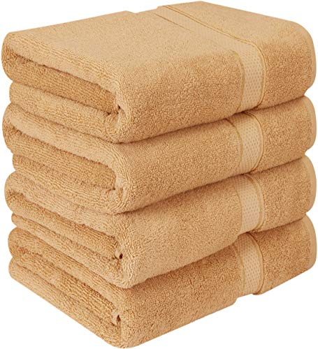 Utopia Towels Premium Bath Towels (Pack of 4, 27 x 54) 100% Ring-Spun Cotton Towel Set for Hotel and Spa, Maximum Softness and Highly Absorbent (Beige)