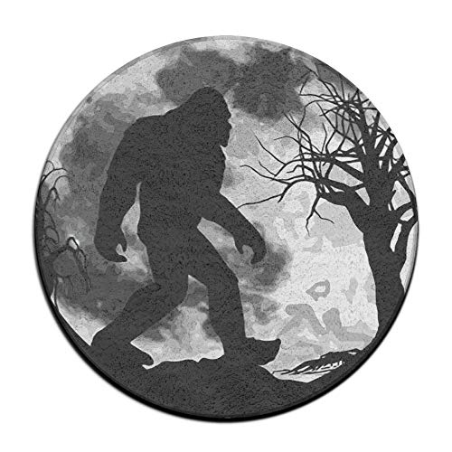 Zoe Diro Bigfoot Believe Moon Night Non Skid Door Mat Soft Coral Velvet Pads (23.6 Inch) Bath Mats Round Area Rug -