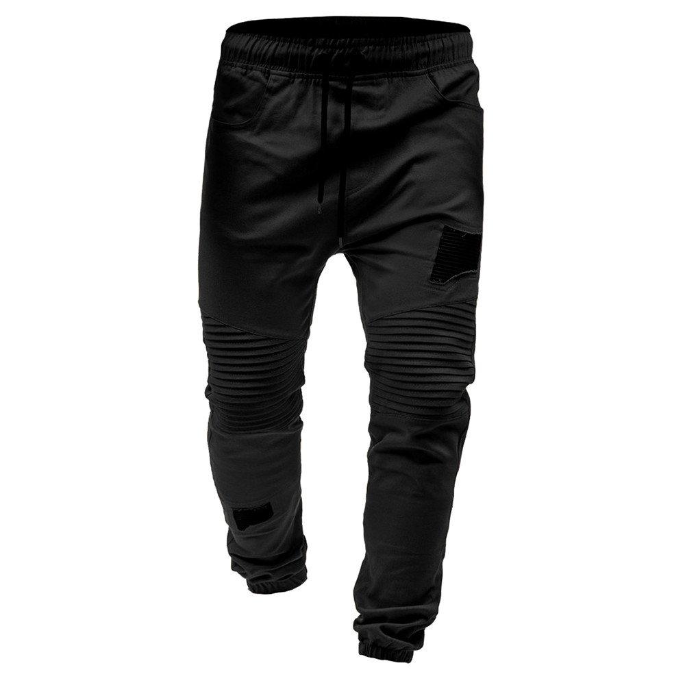 YOcheerful Mens Pants Men Drawstring Pants Trousers Sportswear Joggers Pants Zipper Pockets Sport Sweat Pants Sales