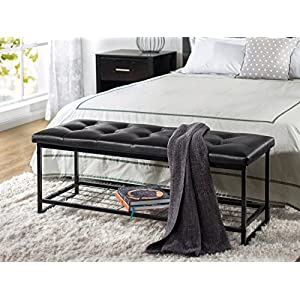 Zinus Faux Leather Tufted/Hallway/Entry/Bed / 36 Inch Bench with Storage Shelf