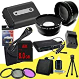 NPFH50 Lithium Ion Replacement Battery w/Charger + 8GB SDHC Memory Card + Mini HDMI + 3 Piece Filter Kit + Wide Angle/Telphoto Lenses + USB SD Memory Card Reader /Wallet + Deluxe Starter Kit for Sony DCRDVD508, DCRDVD408, DCRDVD308, DCRDVD108, DCRDVD505,