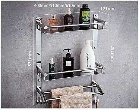 浴室のタオル掛け、ダブルダブルバー、フック、304ステンレススチール、トイレのペンダント、浴室用ラック、パンチフリー、パンチ (Size : 610mm)