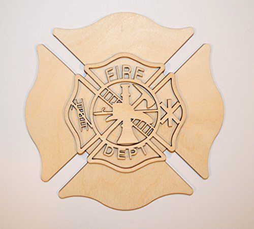 Fireman Badge Unfinished Wooden Maltese Cross Craft Cut Outs FDB2]()