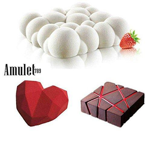 3PCS Art Cake Mould Pan 3D Grid Block Clouds Diamond Heart Silicone Mold Mousse Silikonowe Chocolate