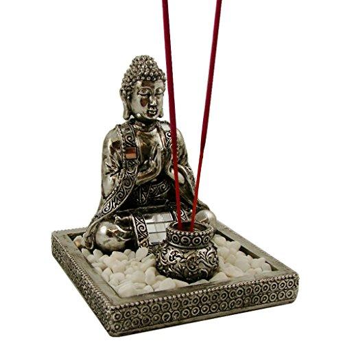 Buddha Räucherset in silber mit Dekosteinen Feng Shui Deko ohne Räucherstäbchen