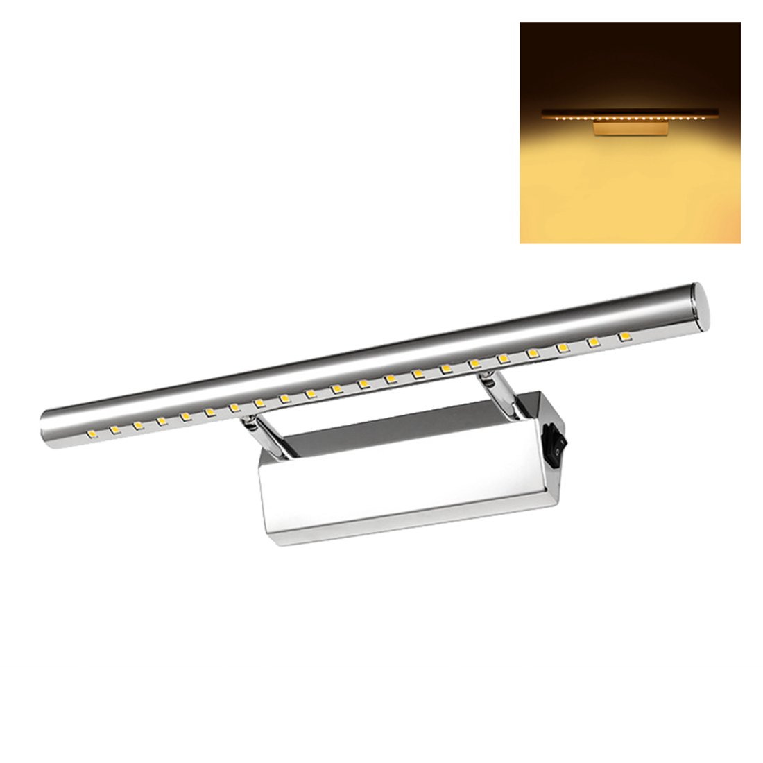 Mirror Light, Alotm 5W 21LEDs Bathroom Light Vanity Light with Switch, Make-Up Wall Mount Light, LED Lighting Fixture, Mirror Lamp Picture Front Lamp - 5050smd - Stainless Steel Chromed - Warm White